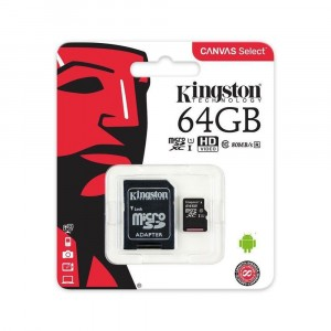 KINGSTON MICRO SD 64GB CLASSE 10 SCHEDA MEMORIA APPLE IPHONE CANVAS SELECT