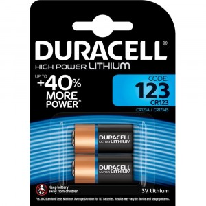 2 BATTERIES DURACELL HIGH POWER LITHIUM UP TO +40% MORE POWER CODE 123 CR123