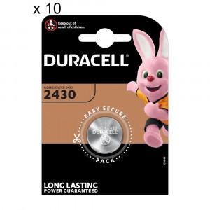 10 Batteries Duracell 2430 Coin 3V Lithium DL2430 CR2430
