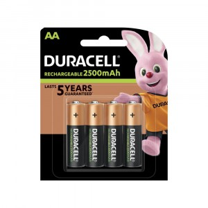 4 PILES BATTERIES DURACELL RECHARGEABLES AA 2500 mAh RECHARGE ULTRA