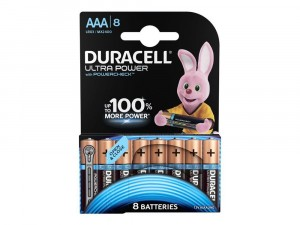 8 BATTERIES DURACELL ULTRA POWER WITH POWERCHECK AAA MICRO
