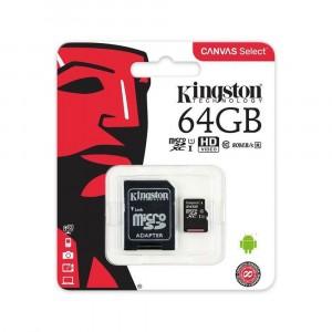 KINGSTON MICRO SD 64GB CLASE 10 CON ADAPTADOR SD 80MB/S CANVAS SELECT