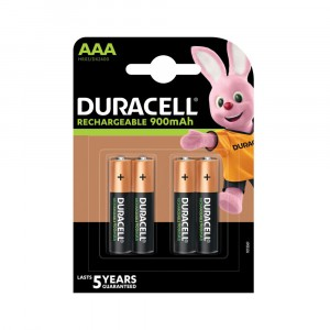 4 BATTERIES DURACELL RECHARGE ULTRA RECHARGEABLE AAA MICRO NIMH 900 mAh