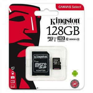 Kingston 128GB Micro SD UHS-I 1 Class 10 80MB/s R avec adaptateur Canvas Select