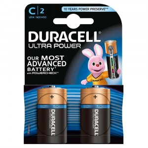 2 PILE BATTERIE DURACELL ULTRA POWER CON POWERCHECK C LR14 MX1400