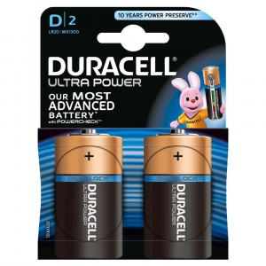 2 PILE BATTERIE DURACELL ULTRA POWER CON POWERCHECK D TORCIA MONO
