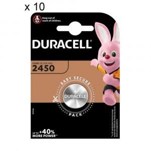 10 Batteries Duracell 2450 Coin 3V Lithium DL2450 CR2450