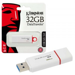 Kingston DTIG4/32GB DataTraveler G4 USB 3.1 3.0 2.0 Pendrive 32GB Blanc Rouge