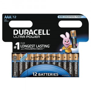 12 PILE BATTERIE DURACELL ULTRA POWER CON POWERCHECK AAA MINI STILO DURALOCK