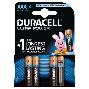 4 BATTERIES DURACELL ULTRA POWER WITH POWERCHECK AAA 1.5V ALKALINE