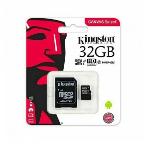 Kingston 32GB Micro SD UHS-I 1 Class 10 80MB/s R avec adaptateur Canvas Select
