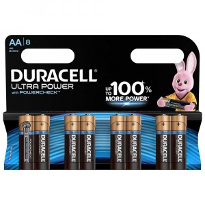 8 PILE BATTERIE DURACELL ULTRA POWER CON POWERCHECK AA STILO DURALOCK
