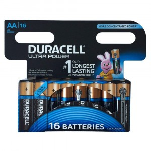 16 BATTERIES DURACELL ULTRA POWER WITH POWERCHECK AA LR6 MX1500